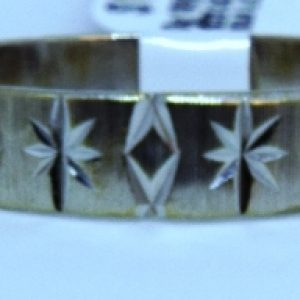 18K WHITE GOLD MANS BAND WITH STAR DESIGN